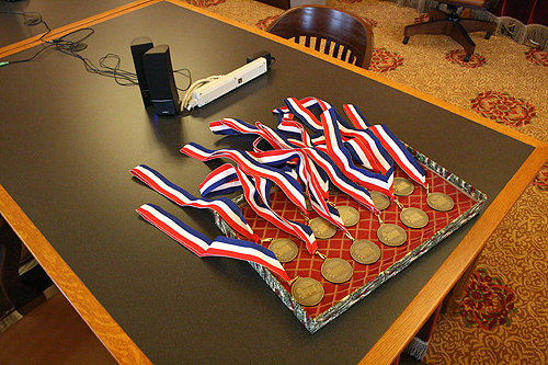 The medals waiting to be awarded for the 2010 Kansas Notable Books.