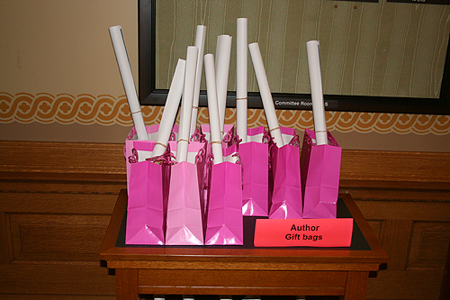 Gift bags for the 2010 Kansas Notable Books authors.