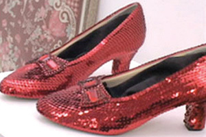 One of four known pairs of Ruby Slippers on display at the Judy Garland Museum in Grand Rapids, Minnesota.