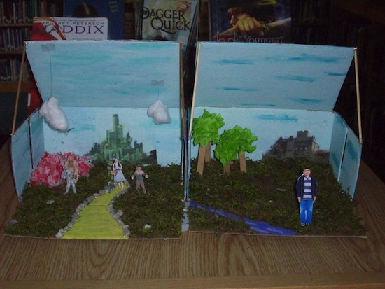 "Student-made diorama comparing ""The Wizard of Oz"" to ""Silver Shoes."""