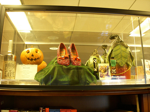 "The Powder of Life (far left) on display in the props archive of Walt Disney Studios. This is how it was depicted it in the Disney film ""Return to Oz"" (1985)."