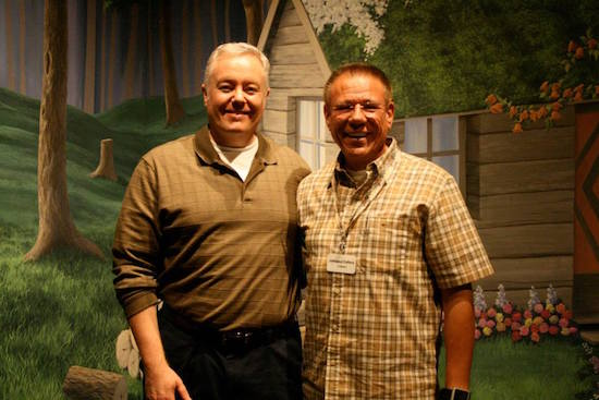 Author Paul Miles Schneider and owner of the Oz Museum's vast collection Johnpaul Cafiero. Wamego, Kansas, 2014.