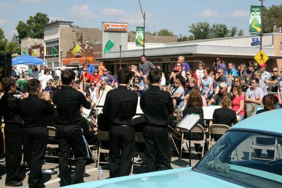 "This crowd was ""in the mood,"" with big band music during lunchtime. OZtoberFest 2014, Wamego, Kansas."