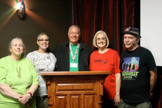 Wonderful friends and representatives of the International Wizard of Oz Club pause with Paul Miles Schneider (center) for a photo after his first presentation on Saturday, including Susan Hall on the far left and Melodie Foreman and Kevin Smith on the right. OZtoberFest 2014, Wamego, Kansas.