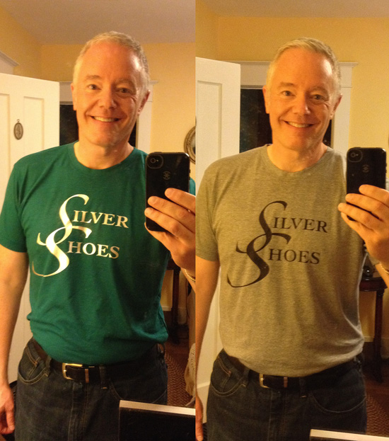 "Paul Miles Schneider wears two versions of his ""Silver Shoes"" T-shirt, available in emerald green with silver letters or gray with black letters."