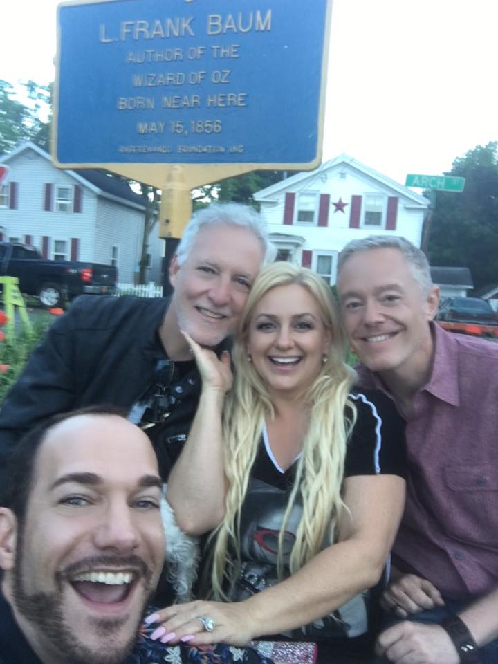 A wonderful group of friends gather below the plaque honoring L. Frank Baum, during Oz-Stravaganza 2016. (left to right:) Ryan Jay, Michael Carter, Emma Ridley, and Paul Miles Schneider. Chittenango, NY.