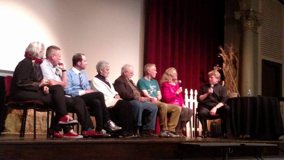 A panel discussion during OZtoberfest 2016, hosted by author and Oz expert John Fricke. (left to right:) Jane Albright, Johnpaul Cafiero, Ryan Jay, Charlene Baum, Roger S. Baum, Paul Miles Schneider, and Jane Lahr. The Colombian Theatre, Wamego, KS.